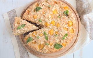 Абрикосовый пирог с овсянкой и кокосовой стружкой. Рецепт с фото
