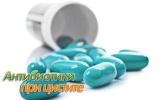Список антибиотиков, применяемых при цистите у женщин