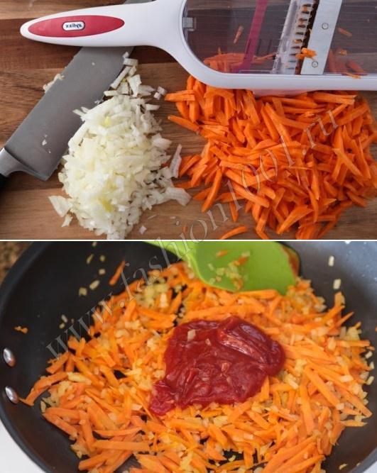Нарезаем и натираем овощи для пережарки