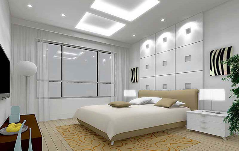 Современный вид интерьера спальни в теплых серых тонах
