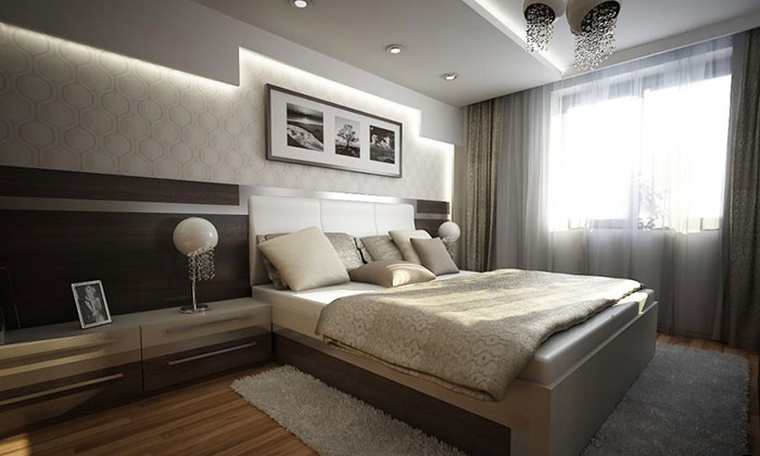 Богатый современный стиль оформления спальни