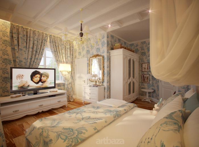 На фото стиль прованс в интерьере спальни