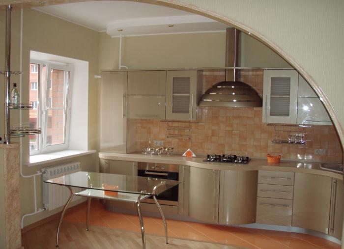 На фото пример объединения кухни