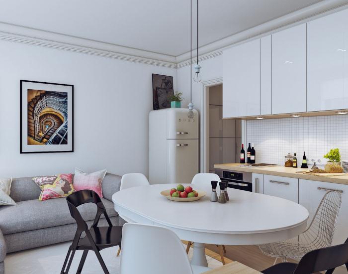 На фото вариант интерьера маленькой квартиры