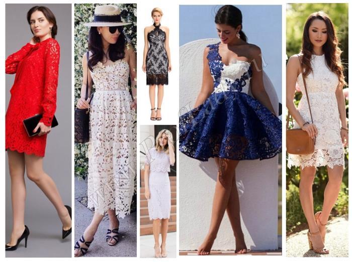 Кружевные платья длиной мини и миди