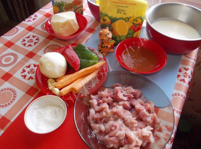 Набор продуктов для рецепта